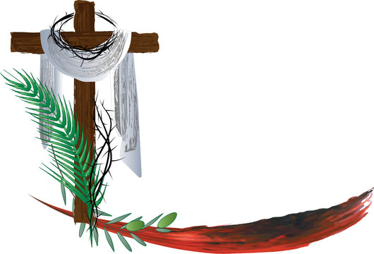 Eucharist symbols of bread and wine with the symbols of the Passion of Jesus Christ. Holy week, Lent or Easter vector color illustration.