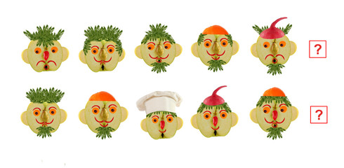 Cartoon faces of vegetables and fruits, as an illustration of ma