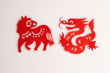 Paper cuts the Chinese zodiac animal-Dragon and Horse