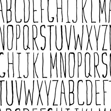 Thin Hipster Alphabet Hand-drawn Seamless Pattern