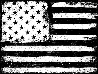 Stars and stripes. Monochrome Negative Photocopy American Flag B