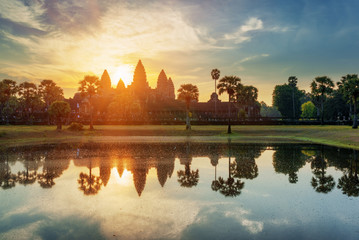 Wall Mural - Mysterious towers of ancient Angkor Wat at dawn, Cambodia