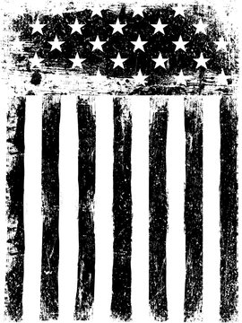 Stars and Stripes. Monochrome Photocopy American Flag Background