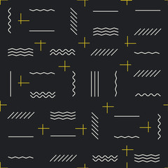 Geometric lines seamless pattern with golden elements