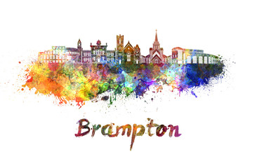 Wall Mural - Brampton skyline in watercolor
