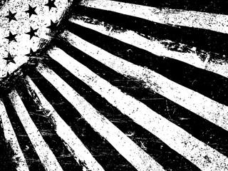 Monochrome Negative Photocopy American Flag Background. Grunge A