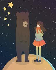 Space, Girl, Bear