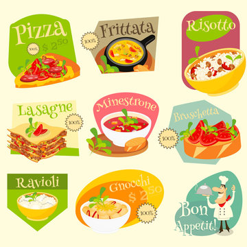 Italian Food Labels Set