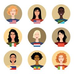 Set of vector icons - people of different nationalities. Women