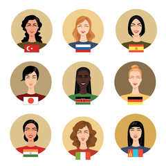 Set of vector icons - people of different nationalities in cartoon style. Women