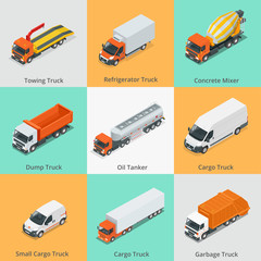 Cargo Truck set icons. Snow Plow Truck, Small Cargo Truck, Concrete Mixer, Dump Truck, Oil Tanker, Garbage Truck. Truck icon. Truck isometric. 3d truck. Car icons