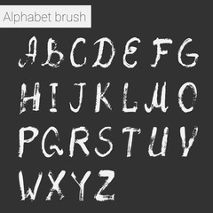 Brush script. Ink alphabet.