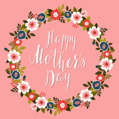 Happy Mother's Day card with pink background.Vector