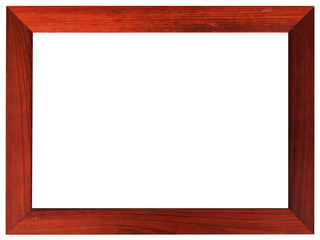 Mahogany picture frame isolated on white color.
