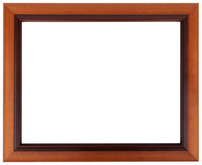 Brown frame. Mahogany picture frame isolated on white color.