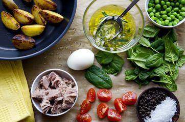Ingredients for cooking tuna salad