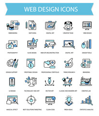 Art, web design and graphics flat thin line icon set collection,