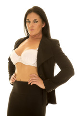 woman with white bra and black suit front open