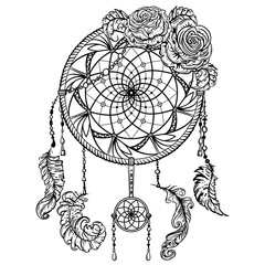 Dream catcher with ornament and roses. Tattoo art. Retro banner, card, scrap booking, t-shirt, bag, print, poster.Highly detailed vintage black and white hand drawn vector illustration
