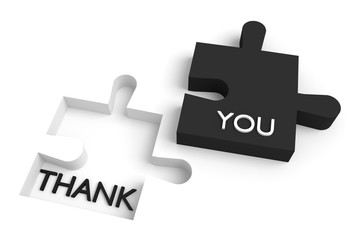 Missing puzzle piece, thank you, black and white