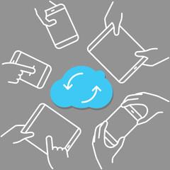 Modern cloud technology scheme. Vector technology concept