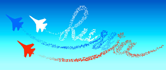 Lettering Russia in the blue sky. Tracking by silhouettes russian military aircraft. The concept of the Russian aviation.