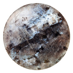 polished round cabochon of labradorite gem stone
