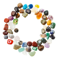 round frame from mineral gem stones isolated
