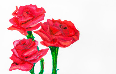 three red roses on green stems painted by felt pen