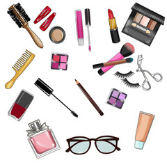 Set of beauty items and cosmetics - clip art set