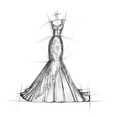 Hand drawn sketch of Bridal dress