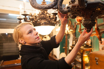 woman in antique store