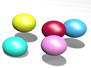digitally rendered illustration of color Easter eggs floating above a white surface