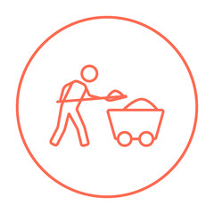 Mining worker with trolley line icon.