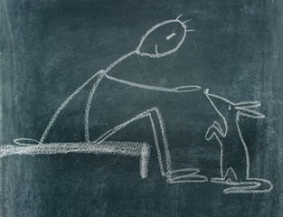 blackboard drawing / Chalkboard drawing with a man who is feeding an animal