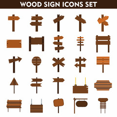 Wood sign icons set on white background