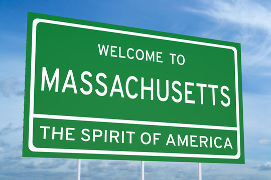 Welcome to Massachusetts state road sign