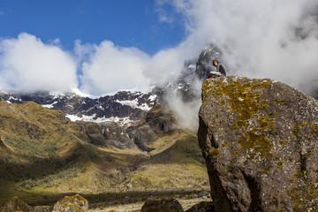 EL ALTAR, ECUADOR - MARCH 08:  Hiker unidentified walking around Altar's valley