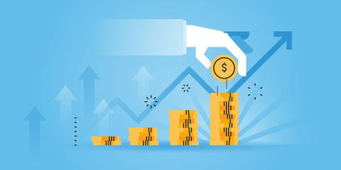 Flat line design website banner of investment, money savings. Modern vector illustration for web design, marketing and print material.