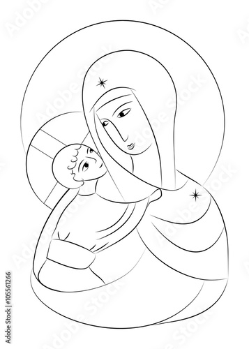 Line Drawing Virgin Mary : Quot blessed virgin mary madonna with child icon abstract