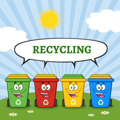 Four Color Recycle Bins Cartoon Character On A Sunny Hill With Speech Bubble And Text Recycling