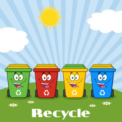Four Color Recycle Bins Cartoon Character On A Sunny Hill With Text Recycle