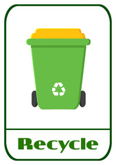 Green Recycle Bin Modern Flat Label Design With Text Recycle