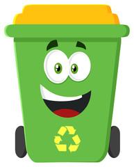 Happy Green Recycle Bin Cartoon Character Modern Flat Design