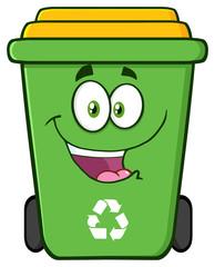 Happy Green Recycle Bin Cartoon Character