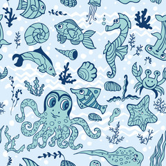 Cartoon Funny Fish seamless pattern.Doodle Sea Life