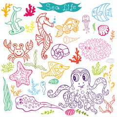 Cartoon Funny Fish, Sea Life  Doodle linear se