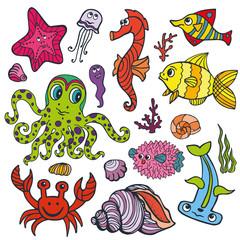 Cartoon Funny Fish, Sea Life .Colored Doodle set