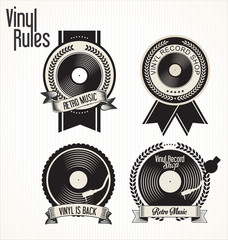 Vinyl record shop badges collection