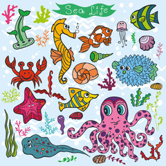 Cartoon Funny Fish, Sea Life background.Colored Doodle set